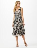 Sleeveless V-Neck Floral Flounce Detail Dress - 6