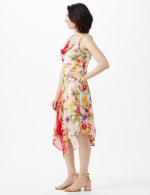 Drape Neck  Spring Floral Chiffon Dress - 4