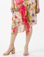 Drape Neck  Spring Floral Chiffon Dress - 5