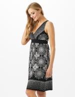 V-Neck Placed Border Mixed Print Dress - 3