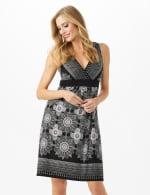 V-Neck Placed Border Mixed Print Dress - 4
