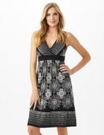 V-Neck Placed Border Mixed Print Dress - 5