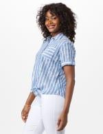 Dressbarn Lurex Stripe 1 Pocket Shirt - 4