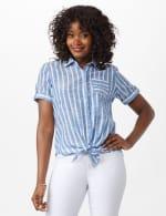 Dressbarn Lurex Stripe 1 Pocket Shirt - 5
