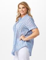 Dressbarn Lurex Stripe 1 Pocket Shirt - Plus - 4