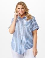 Dressbarn Lurex Stripe 1 Pocket Shirt - Plus - 6