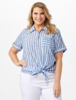 Dressbarn Lurex Stripe 1 Pocket Shirt - Plus - 5