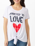 Addicted to Love  Tie Front Screen Tee - 6