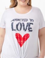 Addicted To Love Tie Front Screen Tee - Plus - 5