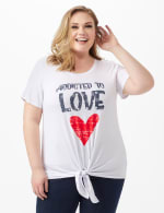 Addicted To Love Tie Front Screen Tee - Plus - 6