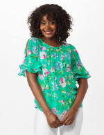 Roz & Ali Floral Ruffle Sleeve Blouse - 5
