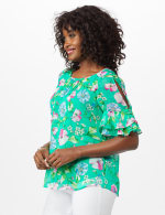 Roz & Ali Floral Ruffle Sleeve Blouse - 4