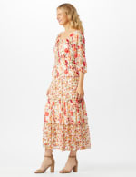 Mixed Ditsy Print Tiered Maxi Peasant Dress - 4