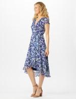 Floral  Ruffle Neck Wrap Chiffon Dress - 4