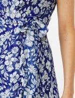 Floral  Ruffle Neck Wrap Chiffon Dress - 6