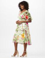 V-Neck Chiffon Jacquard Botanical Floral Dress - 4