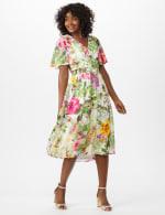V-Neck Chiffon Jacquard Botanical Floral Dress - 6