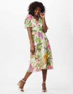 V-Neck Chiffon Jacquard Botanical Floral Dress - 5