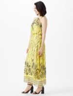 Halter Scribble Floral Chiffon Patio Dress - 4