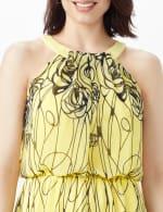 Halter Scribble Floral Chiffon Patio Dress - 5