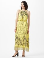 Halter Scribble Floral Chiffon Patio Dress - 6