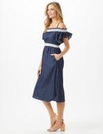Denim Cold Shoulder Dress Smocked Waist - 4