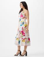 Modern Floral Halter Peasant Dress with Smocked Waist - 4