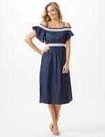 Denim Cold Shoulder Dress Smocked Waist - 6