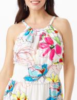 Modern Floral Halter Peasant Dress with Smocked Waist - 5