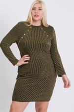 Semi-Formal Striped Metallic Dress - 9