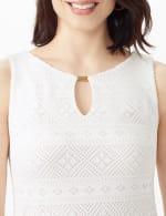 Key Hole Neck Pleated Hem Lace Dress - 5