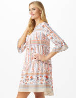 Mixed Pattern Baby Doll Dress with 3/4 Sleeves - 4