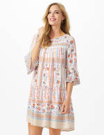 Mixed Pattern Baby Doll Dress with 3/4 Sleeves - 6