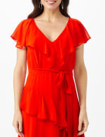 Ruffle V-Neck Chiffon Ruffle Layer Dress - 4