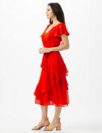 Ruffle V-Neck Chiffon Ruffle Layer Dress - 3