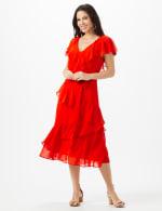 Ruffle V-Neck Chiffon Ruffle Layer Dress - 5