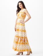 Mixed Pattern Maxi Peasant Dress - 4