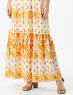 Mixed Pattern Maxi Peasant Dress - 5