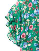 Floral Cold Shoulder Bubble Hem Blouse - 4