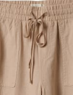 Drawstring  Waist Pull On Crop Pant With Pockets - 3