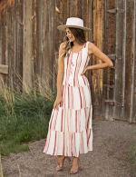 Stripe Smock Waist Maxi Dress - 6