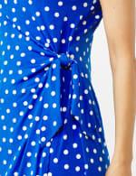 Dot Faux Wrap  Side Tie Dress - Petite - 5