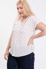 Dot Print Top With Pleated Neckline - 9