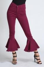 Burgundy Ruffle Bell-Bottom Jeans - 4