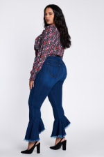 Ruffle Bell-Bottom Jeans - 4