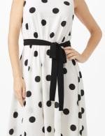 Round Neck Large Dot With Soft Belt Dress - 5