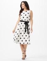 Round Neck Large Dot With Soft Belt Dress - 6