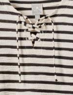 Lace Up Stripe Knit Top - 4
