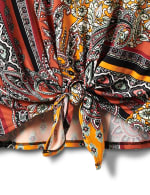 Patchwork Keyhole Tie Front Knit Top - Misses - 4