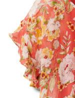 Floral Ruffle Sleeve Cold Shoulder Bubble Hem Blouse - 4